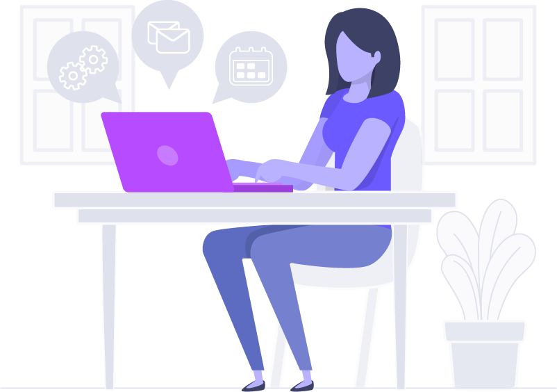 Woman at desk working on email marketing solutions
