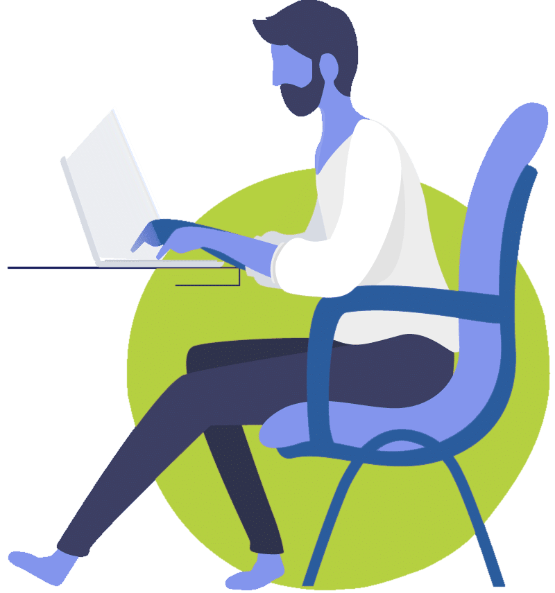 Man at desk with laptop, working on Web Development or Design solutions
